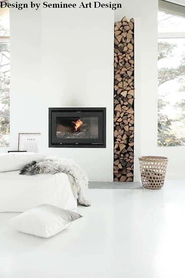 Semineu pe lemne modern – White UNO